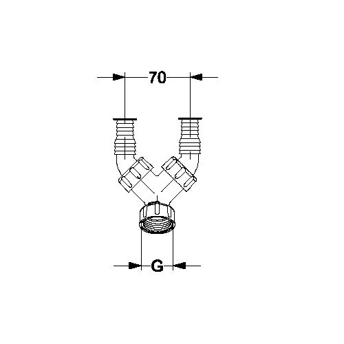 Haas 2914 Winkel Doppelschlauchtülle 1 1 Zoll Siphon Doppeltülle Schlauchanschluß Siphontülle zweifach Spüle Waschmaschine für Geräteanschluss Spülenablauf