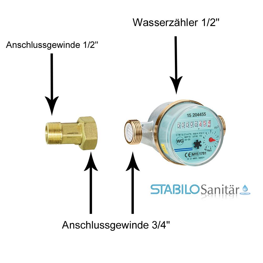 Wassergerate Wasserzahler Wasseruhr 1 2 Zoll X 110mm Warm Geeicht Sanitarbedarf Heizung Sanitar Wasser Installation Shop