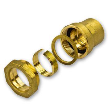 """Caleffi Messing PE Rohr Verschraubung 20mm x 1/2"""" IG Klemmverbinder Klemmfitting – Bild $_i"""