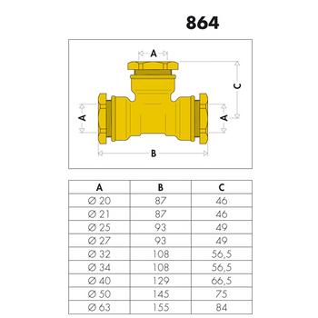 Messing Verschraubung T-Stück 40mm Abzweig PE Rohr – Bild $_i