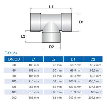 Drainagerohr T-Stück DN100 Drainageschlauch Drainage – Bild $_i