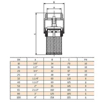 Messing Fußventil Ansaugfilter Saugfilter 3/4 Zoll DN20 – Bild $_i