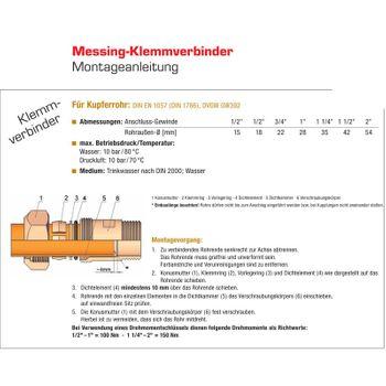 Messing Klemmverbinder Verschraubung 3/4 Zoll AG x 22mm Kupferrohr – Bild $_i
