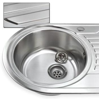 Edelstahl Waschbecken Spüle rechts Einbauspüle Küchenspüle oval – Bild $_i