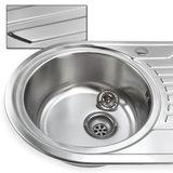 Edelstahl Waschbecken Spüle rechts Einbauspüle Küchenspüle oval
