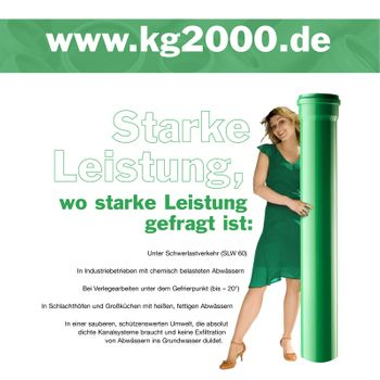 KG 2000 Bogen DN160/15° Abwasserrohr Kanalrohr grün – Bild $_i