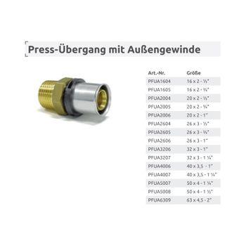 Pressfitting Übergang 20x2 mm - 1 Zoll AG TH Kontur Verbundrohr – Bild $_i