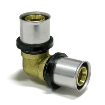 Pipetec Pressfitting Winkel 26x3 mm 90 Grad TH Kontur für Alu-Verbundrohr – Bild $_i