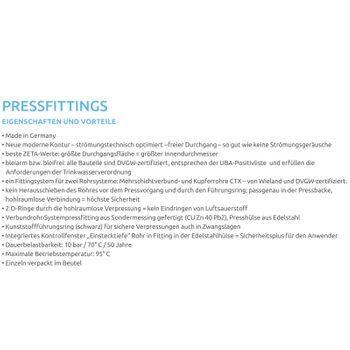 Pressfitting T-Stück 20x2 16x2 20x2 mm TH Kontur Alu-Verbundrohr – Bild $_i