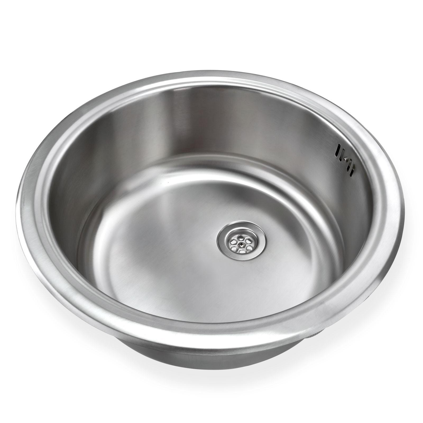 Edelstahl Einbauspüle Ronda1 Waschbecken Spüle Küchenspüle rund