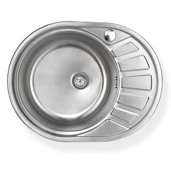 Edelstahl Einbauspüle CalypsoSL Waschbecken links rund mit Ablage – Bild $_i