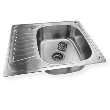 Edelstahl Einbauspüle Alfa2R Waschbecken rechts rechteck mit Ablage – Bild $_i