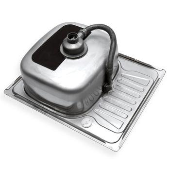 Edelstahl Einbauspüle Alfa2L Waschbecken links rechteck mit Ablage – Bild $_i