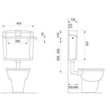 Wisa 1070 WC Spülkasten Aufputz Toilette Spülung 6-9 l Toilettenspülkasten Weiß – Bild $_i