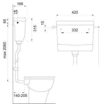 Wisa 295 WC Retro Spülkasten hochhängend Aufputz Toilettenspülkasten weiss – Bild $_i