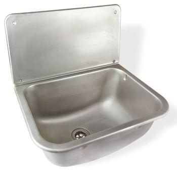 Edelstahl Ausgussbecken Waschbecken mit Auflagerost und Siphon – Bild $_i