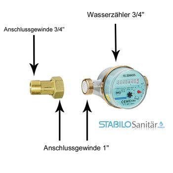 2x Wasserzählerverschraubung 3/4 AG x 1 IG Wasserzähler Verschraubung Wasseruhr – Bild $_i