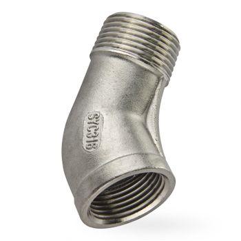 Edelstahl Fitting Winkel 1 Zoll IG/AG 45° Gewindefitting – Bild $_i