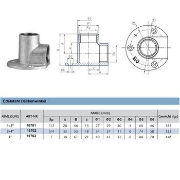 Edelstahl Fitting Deckenwinkel 3/4 Zoll 90° Gewindefitting – Bild $_i