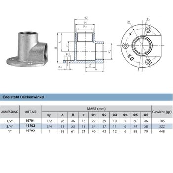 Edelstahl Fitting Deckenwinkel 1 Zoll 90° Gewindefitting – Bild $_i