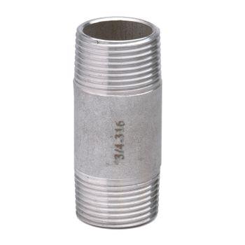 Edelstahl Fitting Rohrdoppelnippel 1 1/4 Zoll x 80mm Gewindefitting – Bild $_i
