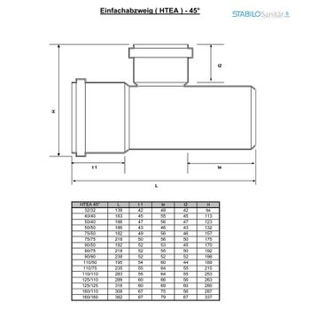 HT Abzweig DN90/90/45° HTEA Abflussrohr Abwasserrohr – Bild $_i