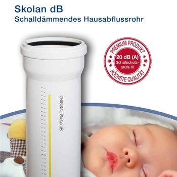 Skolan dB Safe Rohr DN110 x 500mm schallgedämmtes Abwasserrohr – Bild $_i