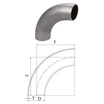 Schweissbogen 4 Zoll 114,3mm 90° lang DN100 Rohrbogen schwarz – Bild $_i