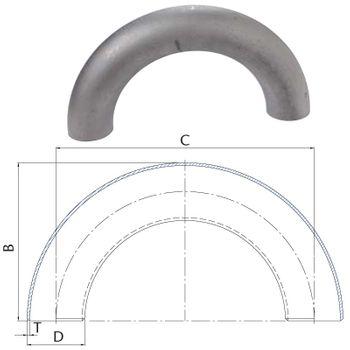 Schweissbogen 1 1/2 Zoll 48,3mm 180° lang DN40 Rohrbogen schwarz – Bild $_i