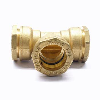 Messing PE Rohr Verschraubung T-Stück 20/25/32/40/50/63 mm – Bild $_i
