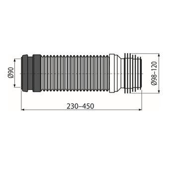 Alcaplast Flex Anschlussstutzen DN 90 mm 23-45 cm WC Montageelemente Ablaufbogen – Bild $_i