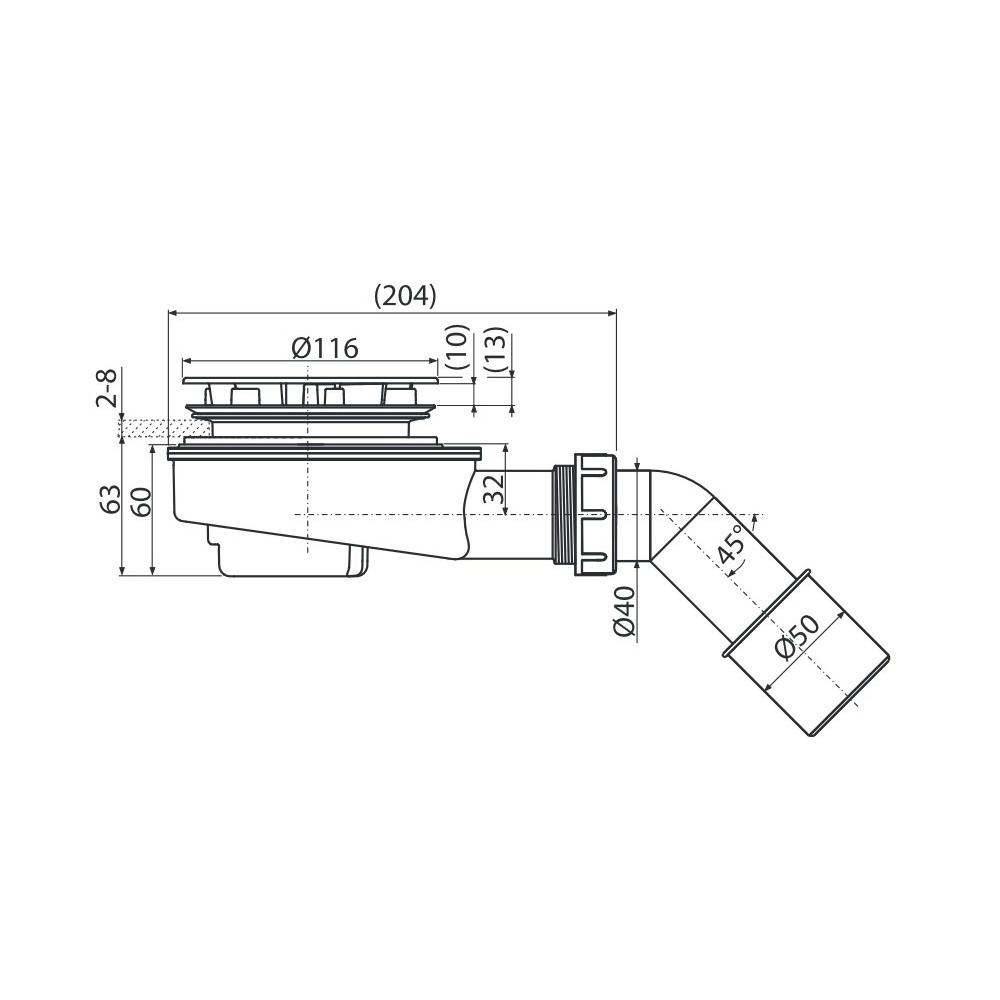 alcaplast ablaufgarnitur 85 mm verchromt extra flach. Black Bedroom Furniture Sets. Home Design Ideas