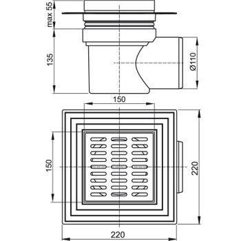 Edelstahl Bodenablauf Duschablauf Serie APV1 150x150 mm waagerecht – Bild $_i