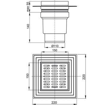 Alcaplast APV13 Edelstahl Bodenablauf 150x150 mm Serie APV1 senkrecht – Bild $_i