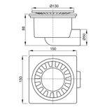 Kunststoff Bodenablauf Duschablauf Serie APV1 150x150 mm waagerecht