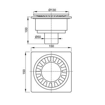 Kunststoff Bodenablauf Duschablauf Serie APV1 150x150 mm senkrecht – Bild $_i