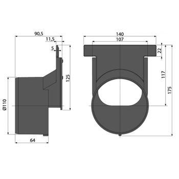 Alcaplast Stirnwand Anschluss 110 mm exzentrisch für Entwässerungsrinne – Bild $_i