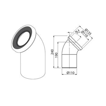 Alcaplast A90-45 WC Anschlussbogen 45° weiß Siphonbogen Sifonanschluss – Bild $_i