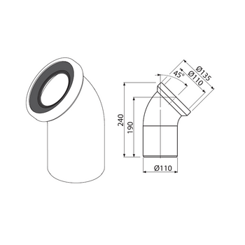 WC Anschlussbogen 45° weiß Siphonbogen Sifonanschluss – Bild $_i