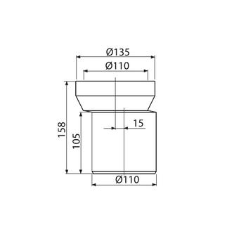 Alcaplast A92 WC Anschlussstutzen 158 mm exzentrisch für WC Montageelemente – Bild $_i