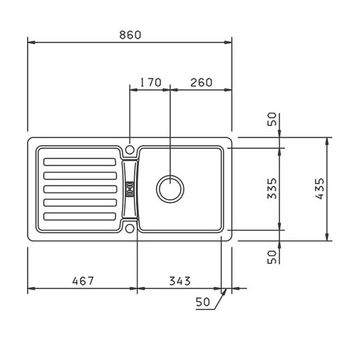 Einbauspüle Eurostone Prima 45 Granit Graphit Granitspüle Küchenspüle – Bild $_i