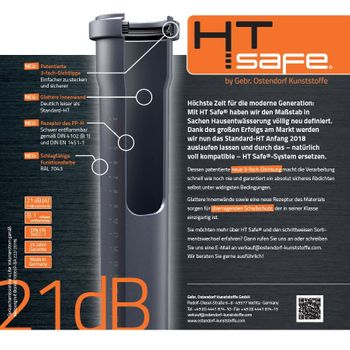 HTSafe Rohr Abflussrohr DN 40 x 2000 mm grau – Bild $_i