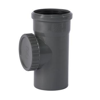 HTSafe Reinigungsrohr DN110 Revisionsrohr Reinigungsöffnung grau