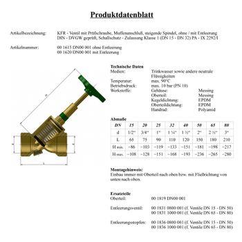 KFR Ventil 1/2 bis 2 Zoll Schrägsitzventil mit Entleerung – Bild $_i