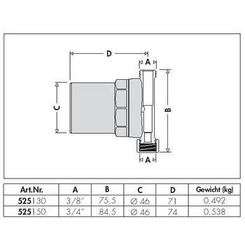Caleffi Wasserschlagdämpfer 3/4 Zoll DN 20 Druckschlagdämpfer für Wasser – Bild $_i