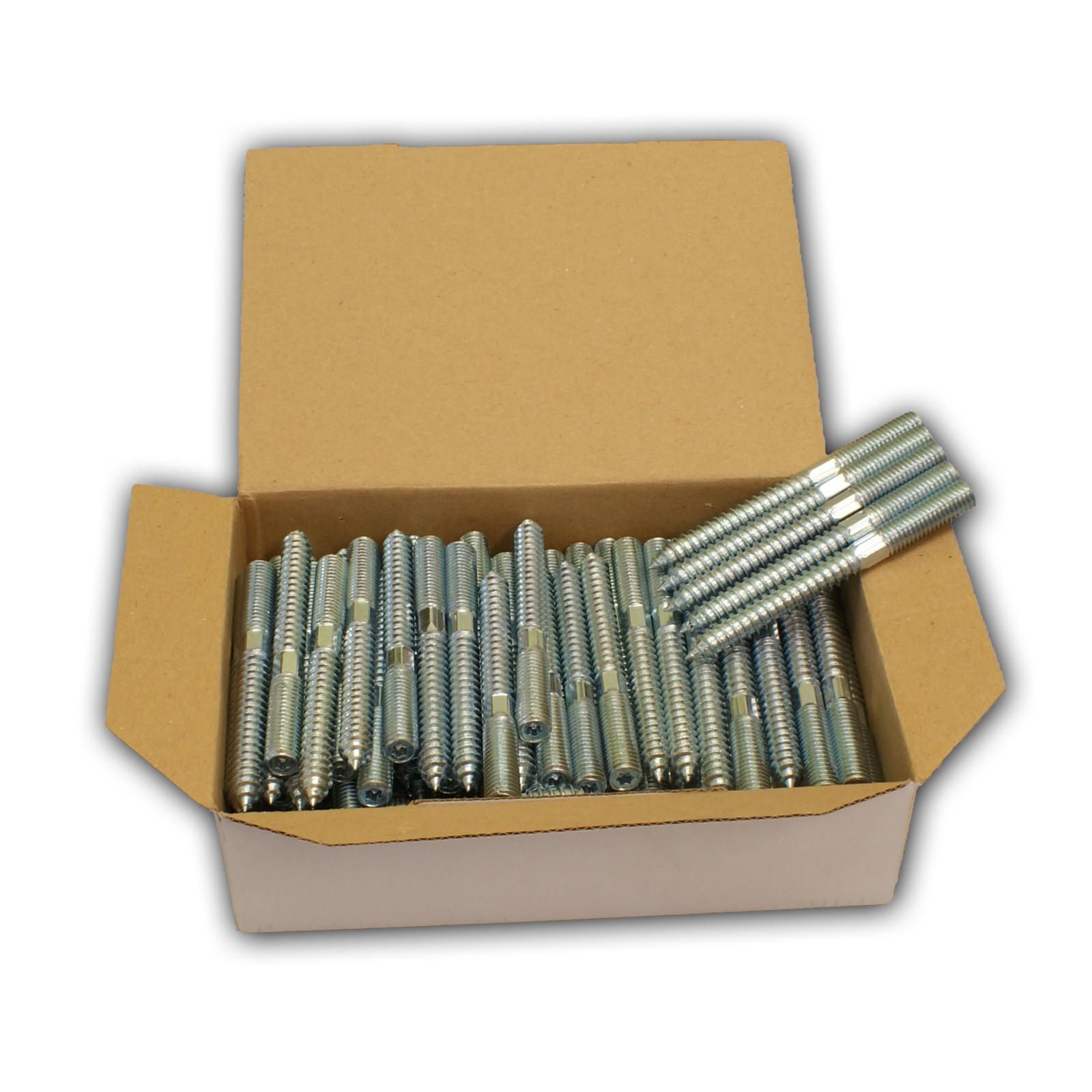 100x Stockschrauben M10 x 60 mm Gewinde Holzschrauben verzinkt