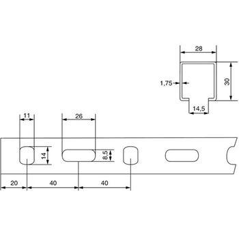 Montageschiene 28x30 mm 2 Meter Lochschiene C Profil verzinkt – Bild $_i