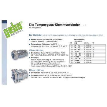 Temperguss Klemmverbinder 3/8 Zoll IG x 17,2 mm Stahlrohr – Bild $_i
