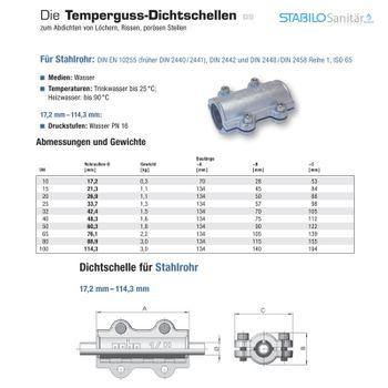 Temperguss Reparaturschelle Dichtschelle DN15 1/2 Zoll (21,3 mm) – Bild $_i