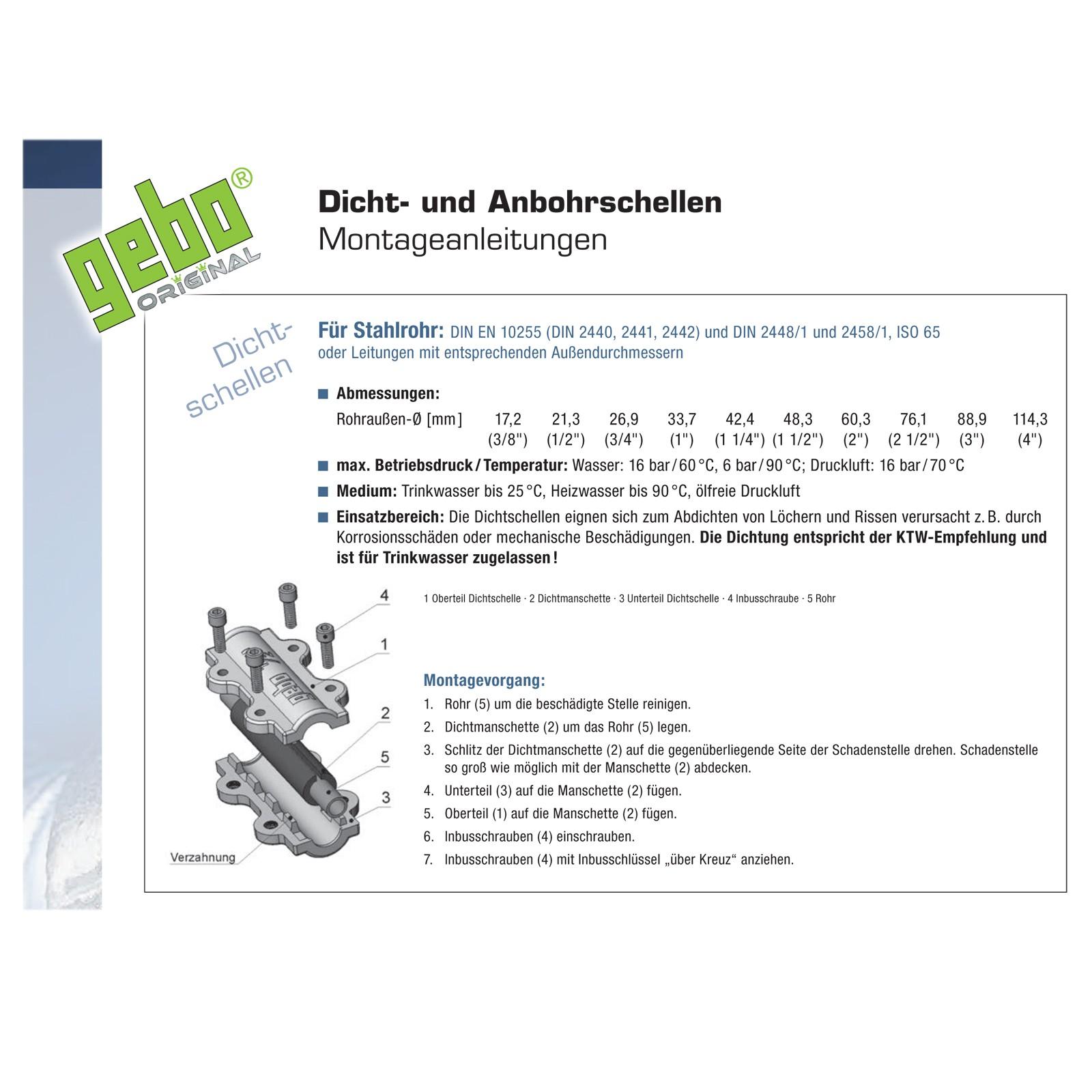 Reparaturschelle Dichtungsschelle 1//2 Zoll// 21-25 mm